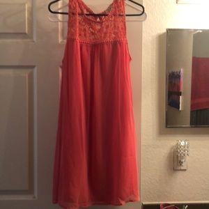 Beautiful sheer flowy pink coral dress